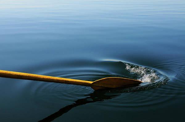 Oar Photograph - Oar Breaking Surface Of Water by Tobi Corney