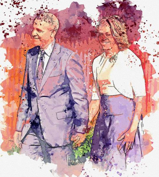 Wall Art - Painting - Obama And His Wife Michelle At The Civil Rights Summit -  Watercolor By Ahmet Asar by Ahmet Asar