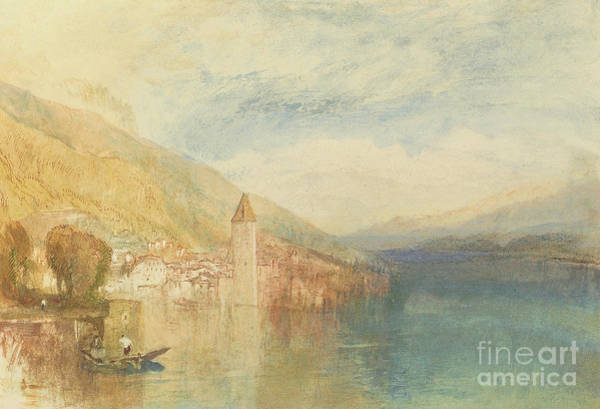 Wall Art - Painting - Oberhofen On Lake Thun, Switzerland by Joseph Mallord William Turner