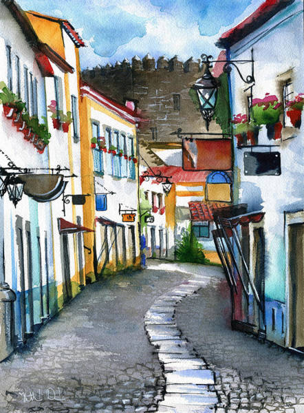 Painting - Obidos Portugal by Dora Hathazi Mendes