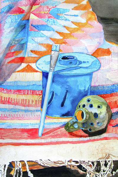 Painting - Objects On A Mexican Blanket by Sandy McIntire