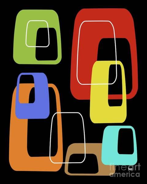 Digital Art - Oblongs On Black 3 by Donna Mibus
