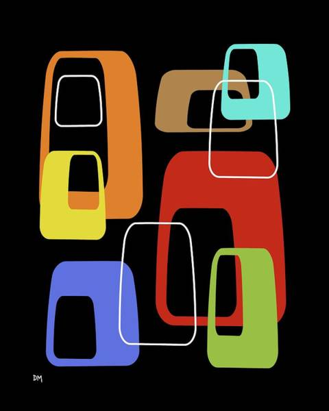 Digital Art - Oblongs On Black 4 by Donna Mibus