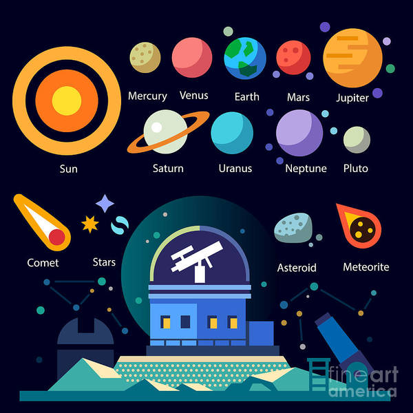 Wall Art - Digital Art - Observatory, Solar System All Planets by Beresnev