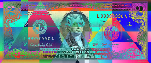 Digital Art - Obverse Of A Colorized Two U. S. Dollar Bill  by Serge Averbukh