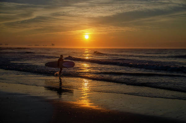 Photograph - Ocean City - Morning Surfer At Sunrise by Bill Cannon