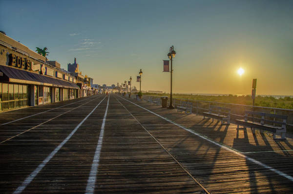 Photograph - Ocean City New Jersey Sunrise On The Boardwalk by Bill Cannon