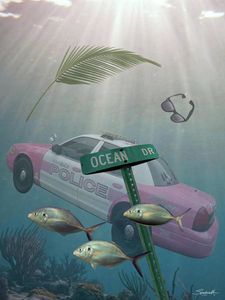 Wall Art - Digital Art - Ocean Drive Submerged by M Spadecaller