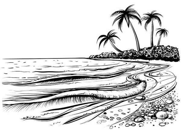 Tourism Wall Art - Digital Art - Ocean Or Sea Beach With Waves, Sketch by Melok