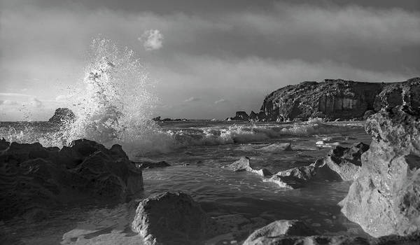 Wall Art - Photograph - Ocean Splash In Black And White by Betsy Knapp