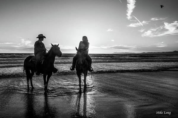 Ocean Sunset On Horseback Art Print