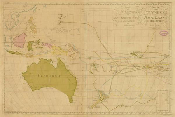 18th Century Digital Art - Oceania 1780 Explorers Map by Historic Map Works Llc