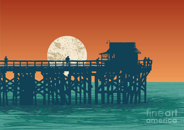 Wall Art - Digital Art - Oceanic View With Silhouette Pier And by Jumpingsack