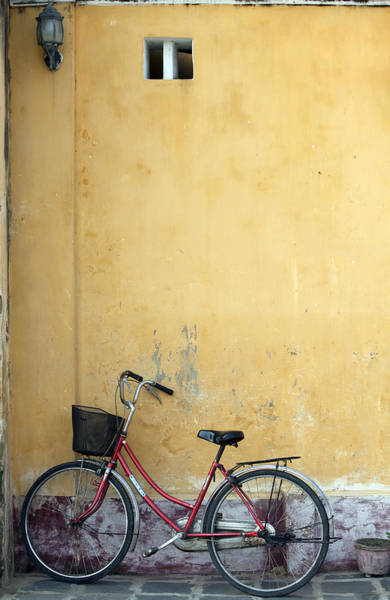 Hoi An Photograph - Ochre Wall Lamp And Bicycle, Hoi An by Alex Craig