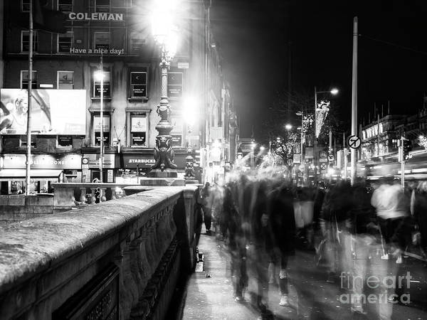 Wall Art - Photograph - O'connell Bridge Crowds At Night Dublin by John Rizzuto