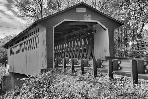 Photograph - October Afternoon At The Silk Covered Bridge Black And White by Adam Jewell