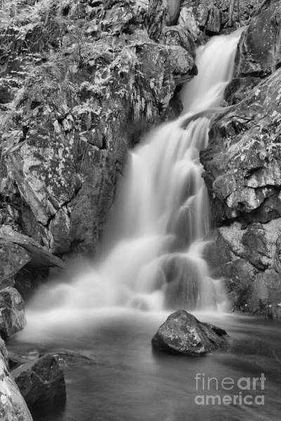 Photograph - October At Goldmine Brook Falls Black And White by Adam Jewell