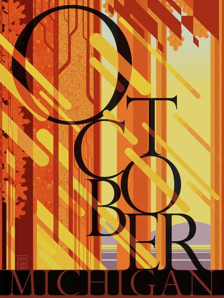 Fall Colors Digital Art - October In Michigan by Garth Glazier