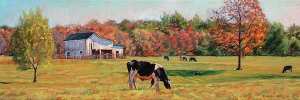 Wall Art - Painting - October Sunshine - Dairy Farm In Autumn by Bonnie Mason