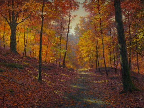 Wall Art - Painting - October Woods by Barry DeBaun