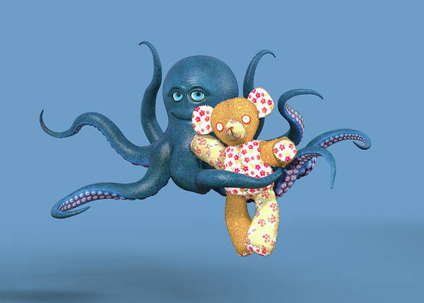 Wall Art - Digital Art - Octopus Blue And Bear by Betsy Knapp
