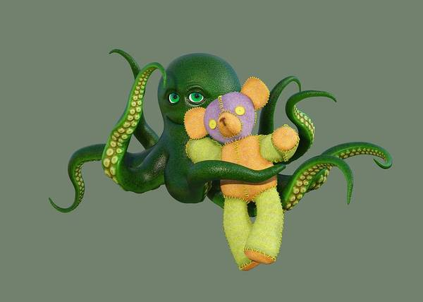 Wall Art - Digital Art - Octopus Green And Bear by Betsy Knapp