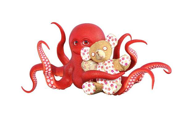 Wall Art - Digital Art - Octopus Red With Bear by Betsy Knapp