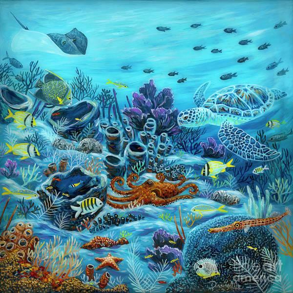 Sponge Painting - Octopus Reef by Danielle Perry