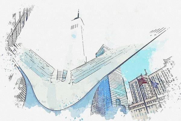 Manhattan Skyline Painting - Oculus, New York, United States Watercolor By Ahmet Asar by Celestial Images