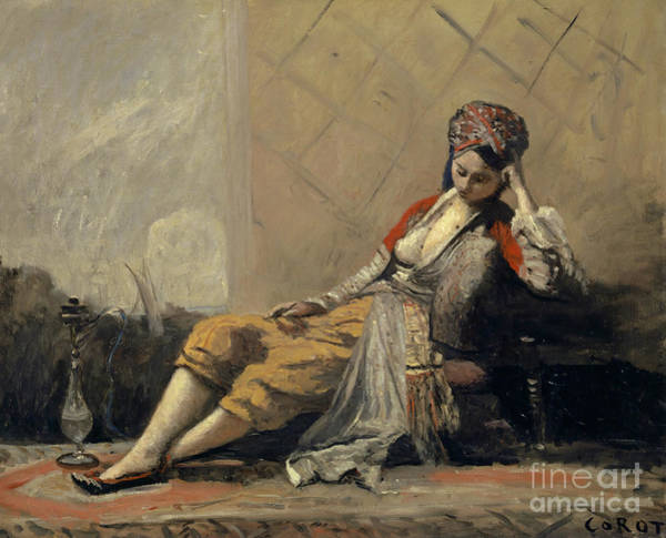 Wall Art - Painting - Odalisque By Corot by Jean Baptiste Camille Corot