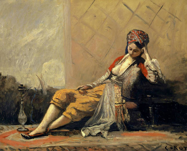 Wall Art - Painting - Odalisque by Jean-Baptiste Camille Corot
