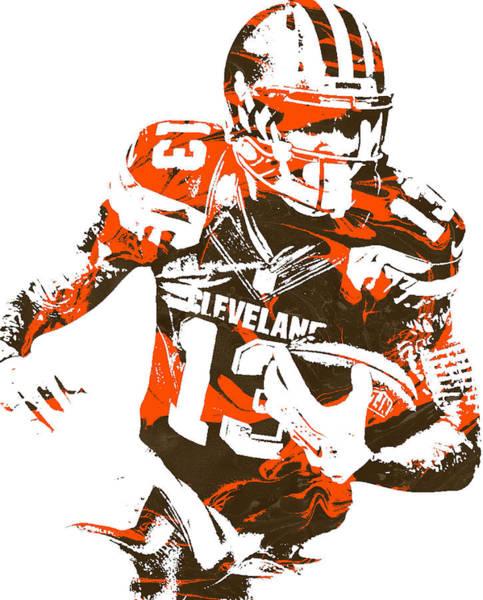 Wall Art - Mixed Media - Odell Beckham Jr Cleveland Browns Pixel Art 1 by Joe Hamilton