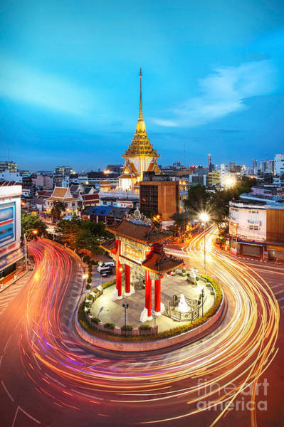 New Market Photograph - Odien Circle And Golden Buddha Temple by Molpix