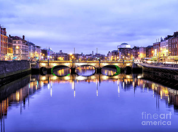 Wall Art - Photograph - O'donovan Rossa Bridge At Night In Dublin by John Rizzuto