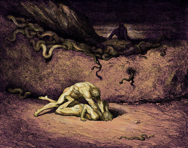 Wall Art - Painting - Of Random Mischief Vents He Still His Spite Scene From Canto Xxx by Gustave Dore