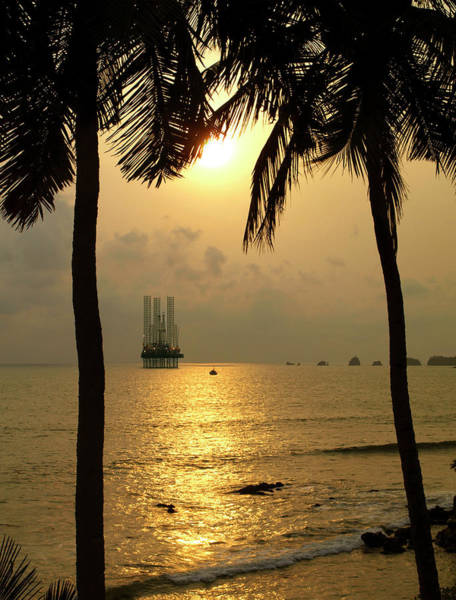 Offshore Wall Art - Photograph - Off Shore Oil Well At Sunset by Kokophoto