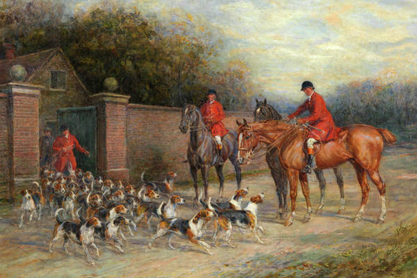 Wall Art - Painting - Off To The Hunt by Heywood Hardy