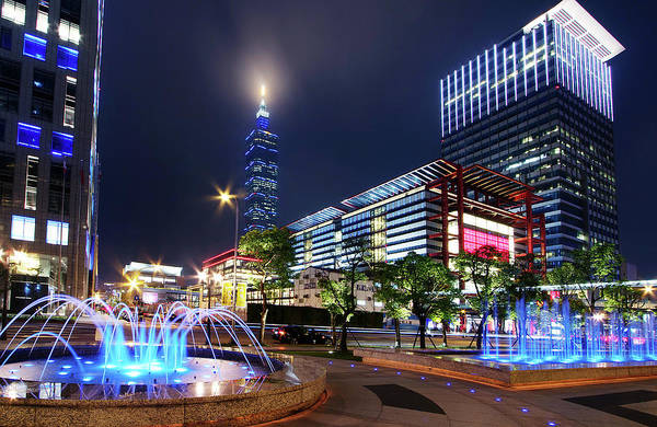 Wall Art - Photograph - Office Buildings In Taipei by Christopher Chan