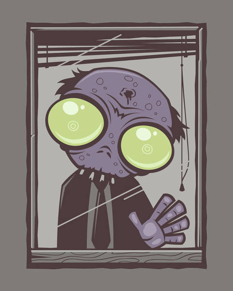 Sad Digital Art - Office Zombie by John Schwegel