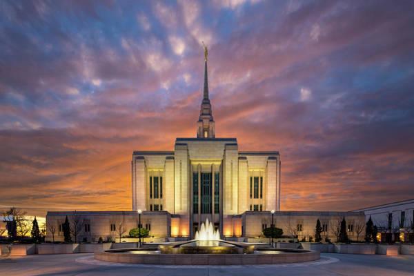 Photograph - Ogden Lds Temple Sunset by Michael Ash