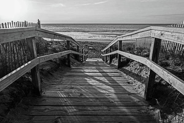 Photograph - Ogunquit Beach Footbridge At Sunrise Ogunquit Maine Black And White by Toby McGuire