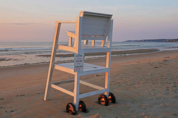 Photograph - Ogunquit Beach Lifeguard Chair At Sunrise Ogunquit Maine Morning Light by Toby McGuire