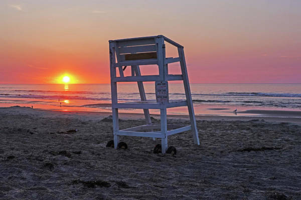 Photograph - Ogunquit Beach Lifeguard Chair At Sunrise Ogunquit Maine by Toby McGuire