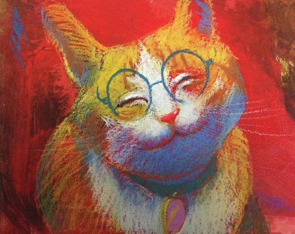 Orange Tabby Drawing - Oh That Was Your Salmon? by Jeff Leedy