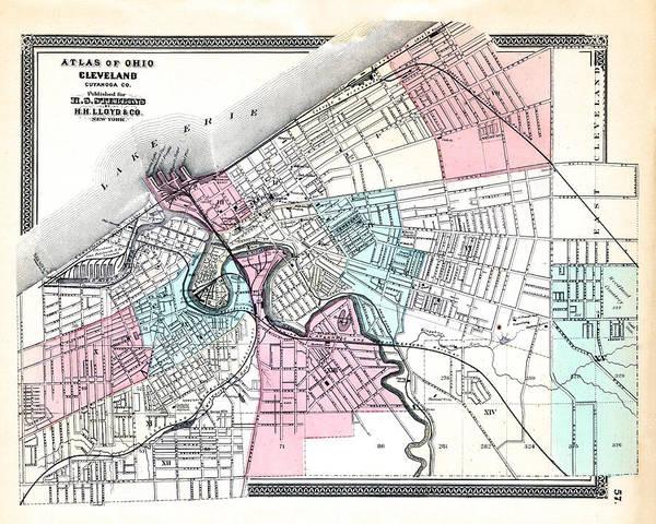 Ohio Digital Art - Ohio, 1868, Cleveland, Ohio State Atlas by Historic Map Works Llc