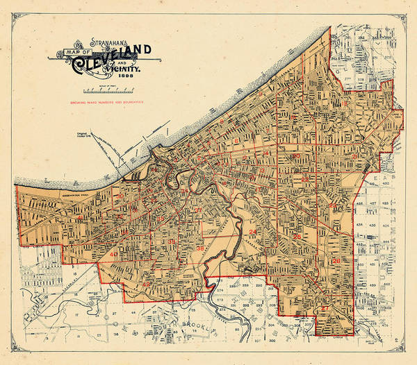 Old Town Digital Art - Ohio,  1898, Cuyahoga County by Historic Map Works Llc