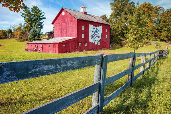 Photograph - Ohio Bicentennial Barn In Autumn 1803 - 2003 by Gregory Ballos