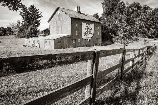 Photograph - Ohio Bicentennial Barn In Sepia 1803 - 2003 by Gregory Ballos