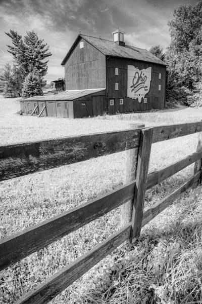 Photograph - Ohio Bicentennial Barn Landscape - Infrared Monochrome by Gregory Ballos