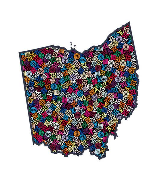 Oh Wall Art - Painting - Ohio Map - 1 by Nikita